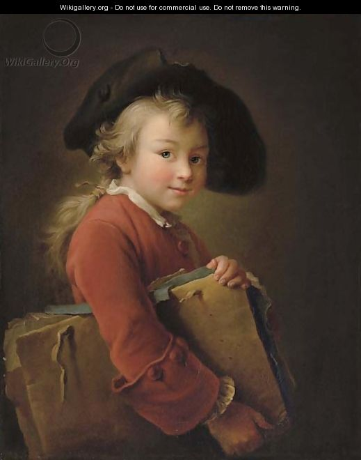 A young boy in a red jacket and black hat, holding a portfolio - Francois-Hubert Drouais