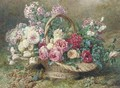 A basket of roses and hydrangeas on a mossy bank - Francois Rivoire