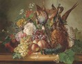 Game, fruit and flowers on a marble ledge - Francois-Joseph Huygens