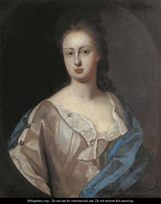 Portrait of Lady Powis, bust-length, in a white dress and blue wrap, feigned oval - (after) Kneller, Sir Godfrey