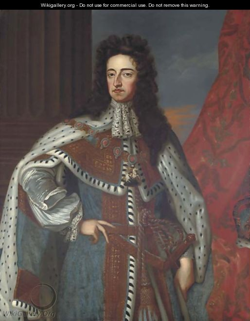 Portrait of King William III (1650-1702), three-quarter-length, in an ermine cloak; and Portrait of Queen Mary II (1662-1694) - (after) Kneller, Sir Godfrey