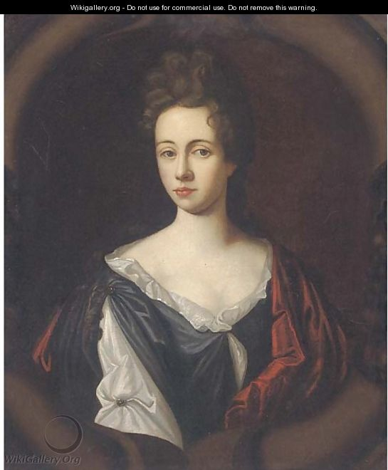 Portrait of a lady, half-length, wearing a white and black dress with a red wrap, in a sculpted cartouche - (after) Kneller, Sir Godfrey