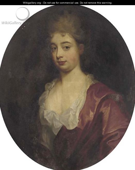 Portrait of a lady, bust-length, in a red dress - (after) Kneller, Sir Godfrey