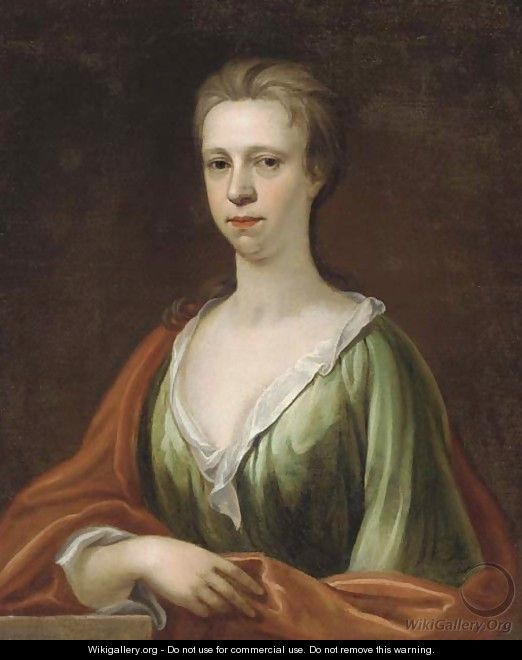 Portrait of a lady, bust-length, in a green dress and red wrap - (after) Kneller, Sir Godfrey