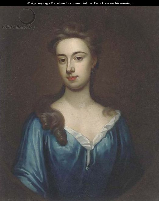 Portrait of a lady, bust-length, in a blue dress, in a feigned oval - (after) Kneller, Sir Godfrey