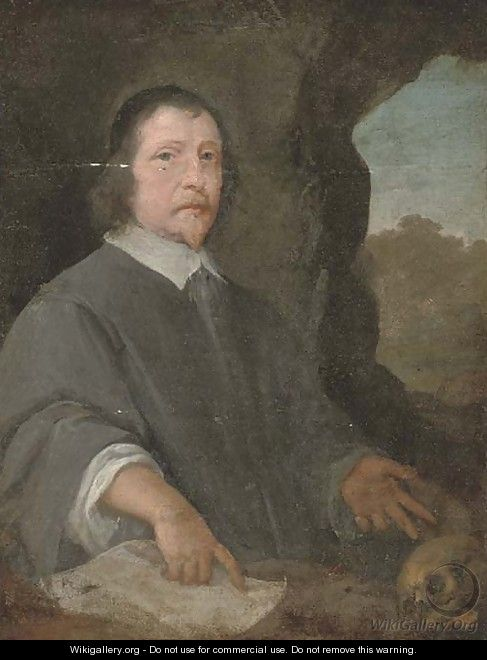 Portrait of a cleric, three-quarter-length, seated, a landscape beyond - (after) Dyck, Sir Anthony van