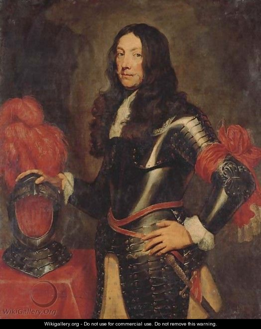 Portrait of a gentleman in armour, three-quarter-length, with a plumed helmet on a table beside - (after) Dyck, Sir Anthony van