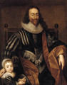 Portrait of Charles I, seated, three-quarter-length, and James II as a youth nearby - (after) Dyck, Sir Anthony van