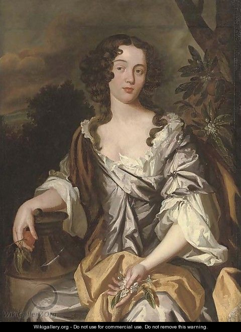 Portrait of a lady, seated, three-quarter-length - (after) Sir Peter Lely