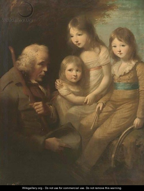 Group portrait of three children, full-length, in a garden with a beggar - (after) Sir Joshua Reynolds