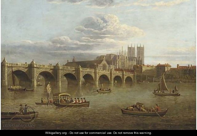 Old Westminster Bridge, with the Abbey beyond - (after) Paul, John Dean