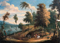 A Dutch river Landscape with Wagons and Travellers on horseback - (after) Theobald Michau