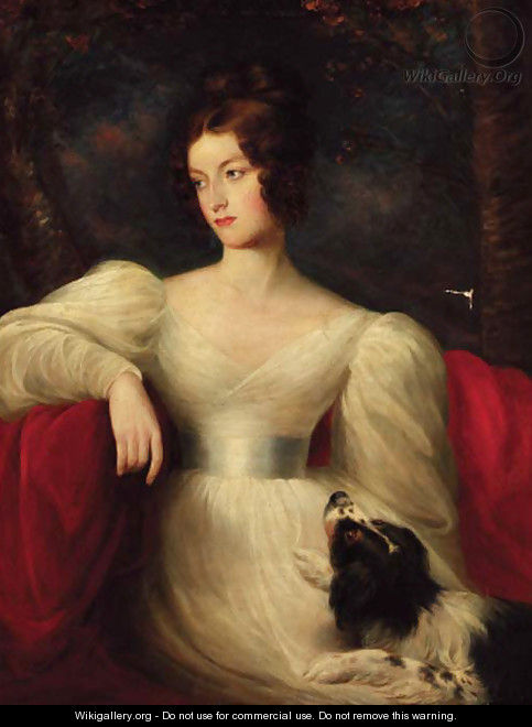 Portrait of a lady, three-quarter-length, in a white dress, seated with a dog by her side, in a landscape - (after) Lawrence, Sir Thomas