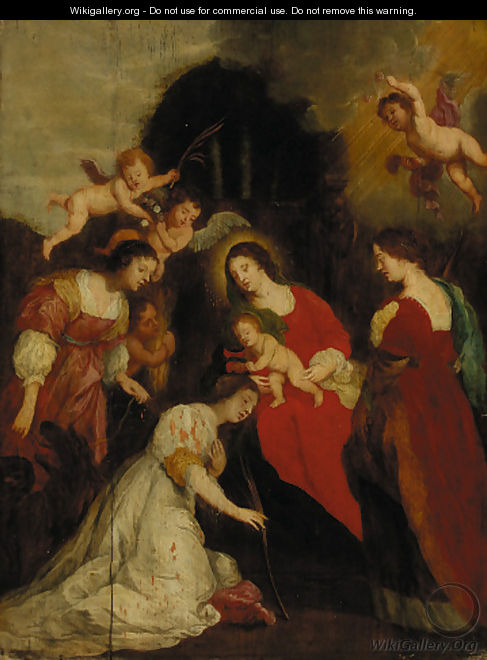 The Crowning of Saint Catherine with Saint Agatha and Saint Euphemia - (after) Sir Peter Paul Rubens