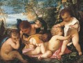 Putti cavorting in a landscape - (after) Tiziano Vecellio (Titian)