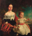 Portrait of Mrs Threshie and her daughter Luary Helen Threshie - (after) Thomas Musgrove Joy