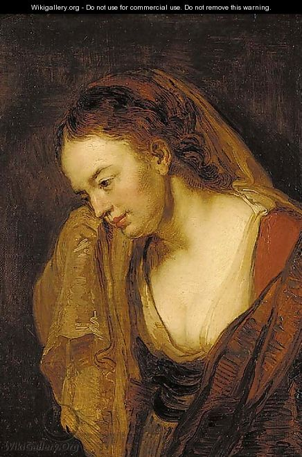 Portrait of a young woman - (after) Rembrandt Van Rijn