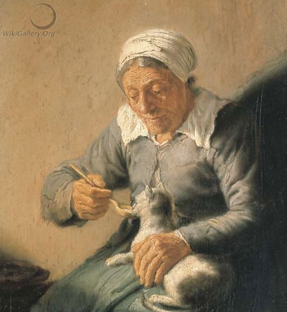 An old peasant woman feeding a cat milk - (after) Rembrandt Van Rijn