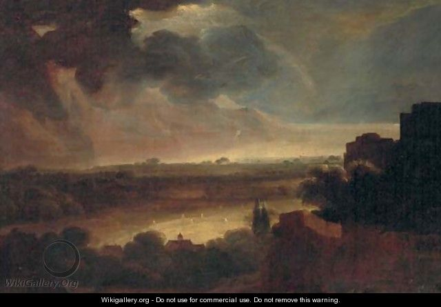 An extensive stormy landscape with a coastal inlet beyond - (after) Rembrandt Van Rijn