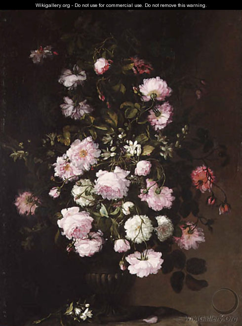 Roses and orange blossom in a vase on a pedestal - (after) Rachel Ruysch