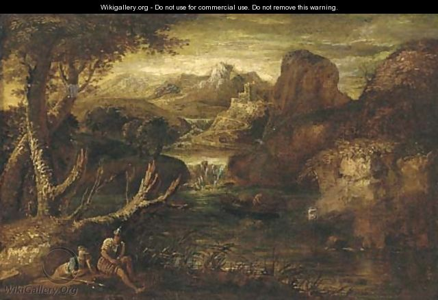 A mountainous river landscape with two soldiers at rest - (after) Rosa, Salvator