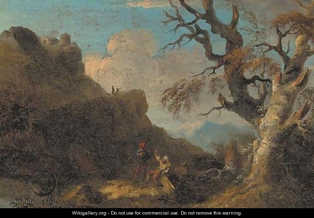 A mountainous landscape with figures resting by a tree - (after) Rosa, Salvator