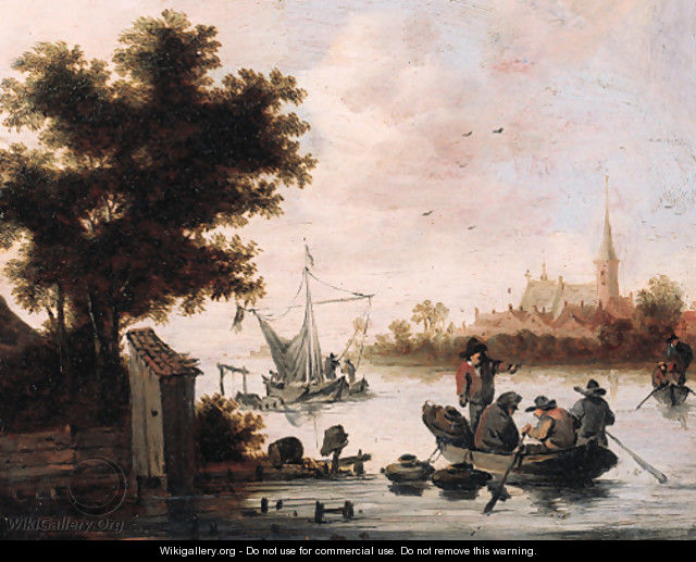 Fishermen laying lobster pots from a rowing boat on a river - (after) Salomon Van Ruysdael
