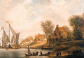 A wooded river landscape with townsfolk disembarking - (after) Salomon Van Ruysdael