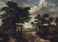 A wooded landscape with a hamlet and travellers on a track - (after) Salomon Rombouts