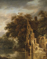 A wooded River Landscape with a Ruin, Anglers on a Bank beyond - (after) Roelof Van Vries