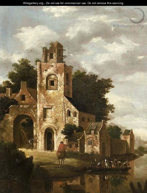 A ruined castle by a river, with a ferry setting out - (after) Roelof Jansz. Van Vries