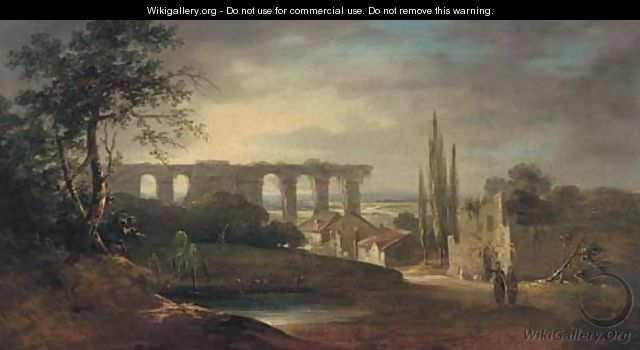 Figures in an Italianate landscape - (after) Richard Wilson