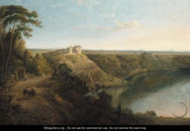 Lake Albano with the Castel Gandolfo beyond - (after) Richard Wilson