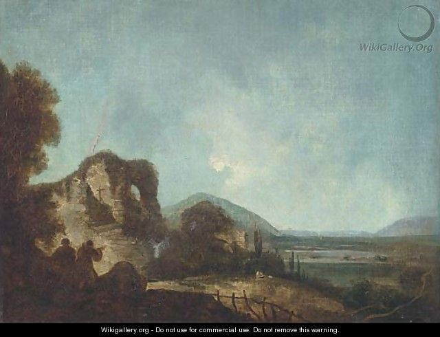 Figures in a landscape, with ruins beyond - (after) Richard Wilson
