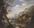 A mountainous wooded landscape with soldiers on a river bank - (after) Rosa, Salvator