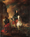 Equestrian portrait of a nobleman, small-full-length, in armour with a blue sash, a marshal's baton in his right hand, his page holding his helm - (after) Dyck, Sir Anthony van