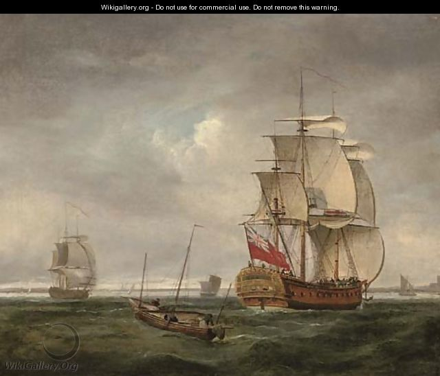 An English frigate coming into port and making ready to anchor - (after) Peter Monamy