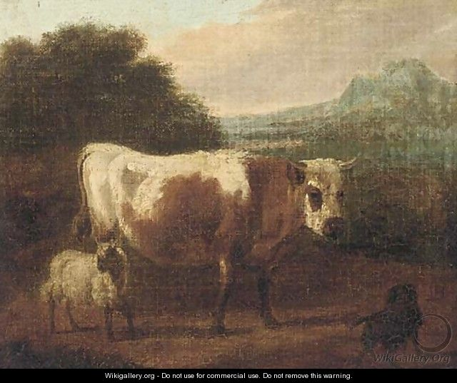 A cow and sheep in a landcape - (after) Paulus Potter