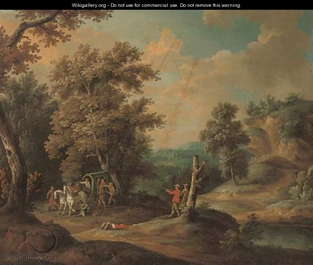 A wooded river landscape with brigands ambushing a carriage - (after) Paul Bril