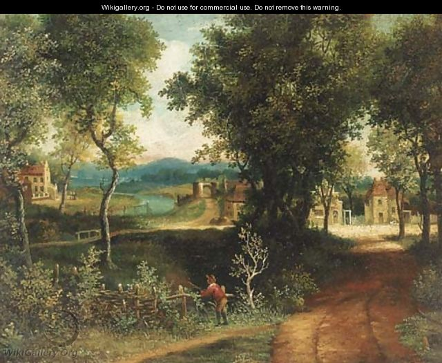An angler in a wooded landscape with a village beyond - (after) Patrick Nasmyth
