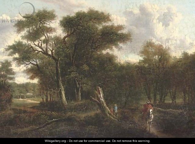 A traveller riding along a wooded track - (after) Patrick Nasmyth