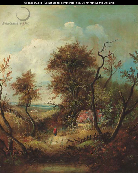 A figure on a wooded track, a cottage beyond - (after) Patrick Nasmyth