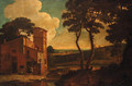 An Italianate landscape with washerwomen outside a villa - (after) Paolo Anesi