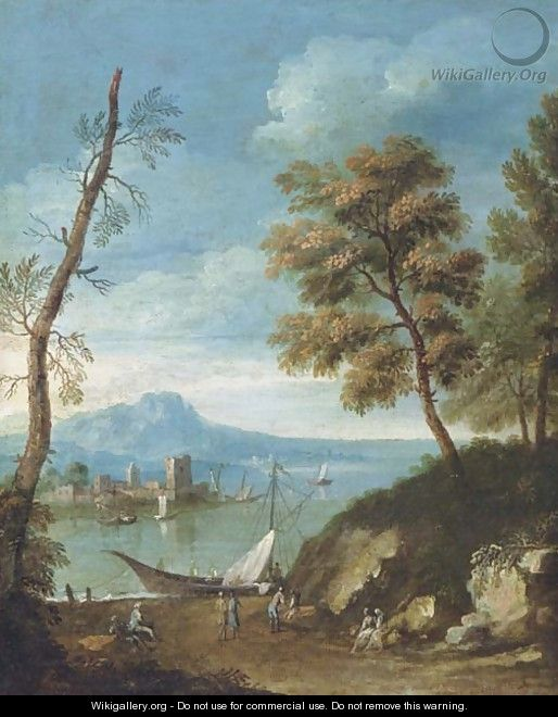 A Mediteranean coastal landscape with figures - (after) Paolo Anesi