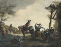 Horsemen outside a blacksmith's with chlidren playing nearby - (after) Philips Wouwerman