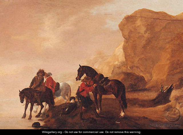 Horsemen crossing a river in a rocky landscape - (after) Philips Wouwerman