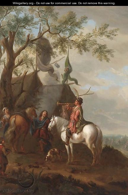 A trumpeter at a cavalry encampment - (after) Philips Wouwerman