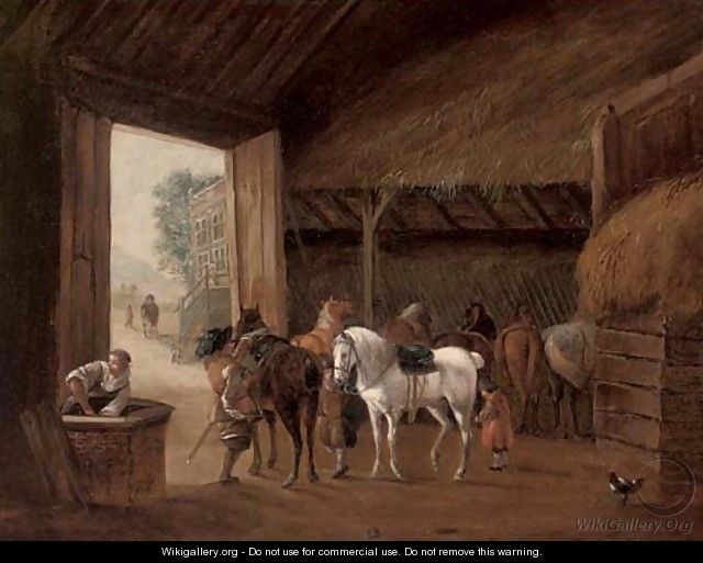 A stable interior with two figures mounting horses - (after) Philips Wouwerman