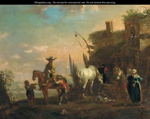 A landscape with travellers resting at an inn - (after) Philips Wouwerman