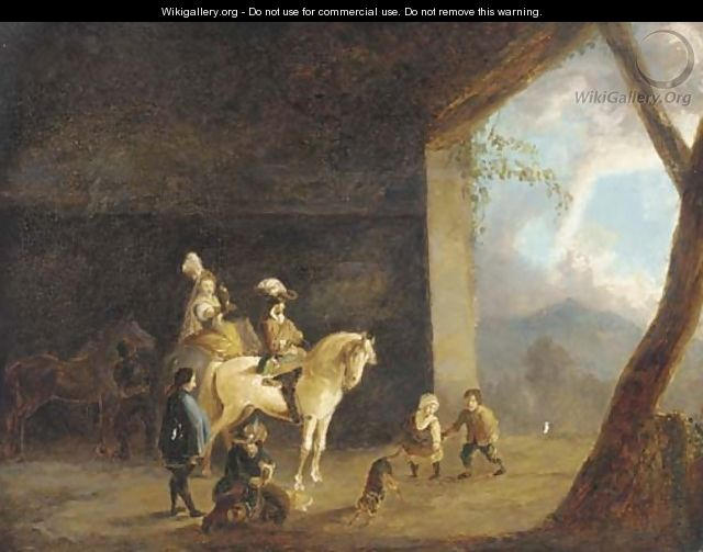 A hawking party setting out from a barn - (after) Philips Wouwerman
